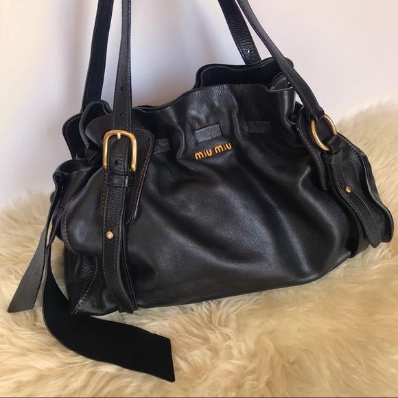 7e9498f63cdbd MIU MIU Black Leather Bow Tote Satchel Bag. M_5b44f59a409c15b84ff0f5f3